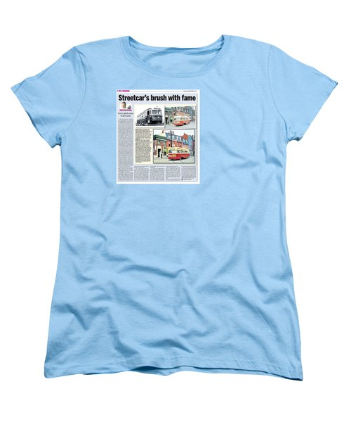 Women's T-Shirt (Standard Cut) featuring the painting Toronto Sun Article Streetcars Brush With Fame by Kenneth M Kirsch