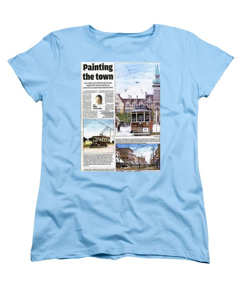Women's T-Shirt (Standard Cut) featuring the painting Toronto Sun Article Painting The Town by Kenneth M Kirsch