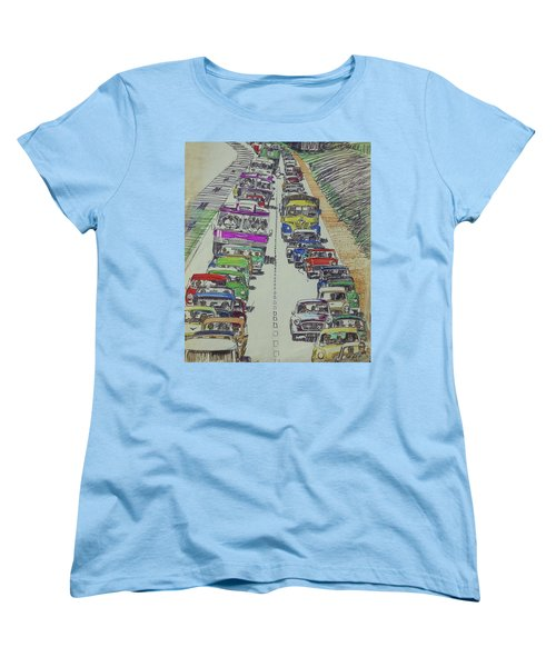 Women's T-Shirt (Standard Cut) featuring the drawing Traffic 1960s. by Mike Jeffries