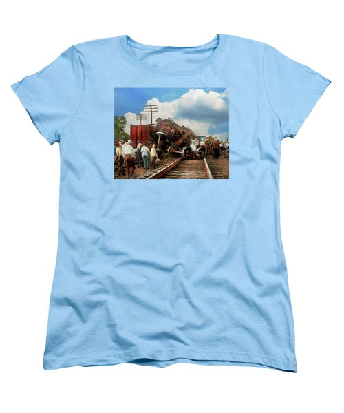Women's T-Shirt (Standard Cut) featuring the photograph Train - Accident - Butting Heads 1922 by Mike Savad