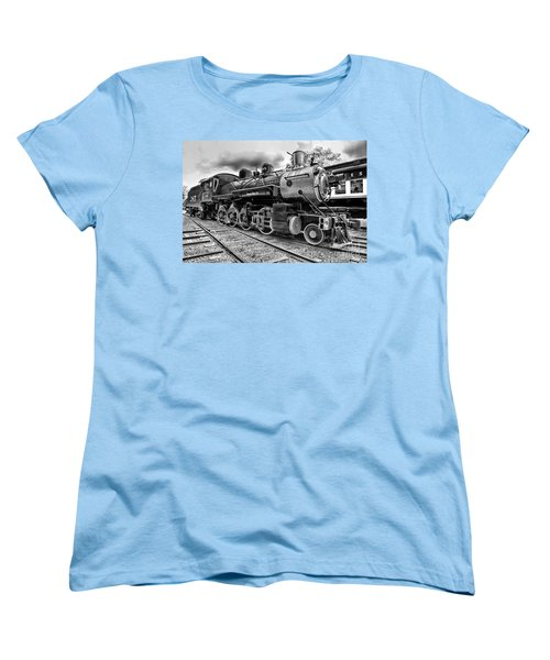 Train - Steam Engine Locomotive 385 In Black And White Women's T-Shirt (Standard Cut) by Paul Ward