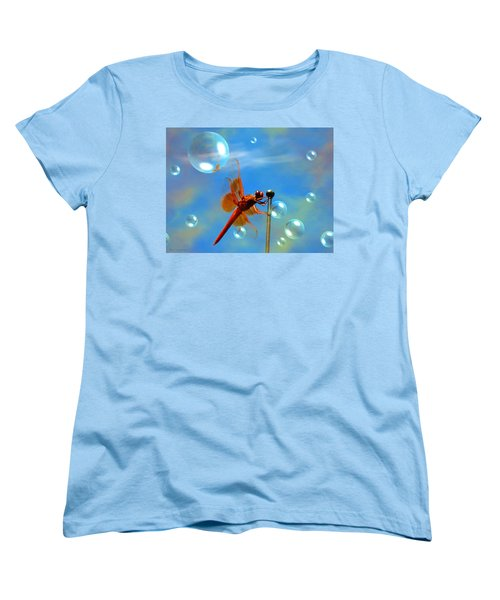 Transparent Red Dragonfly Women's T-Shirt (Standard Cut) by Joyce Dickens