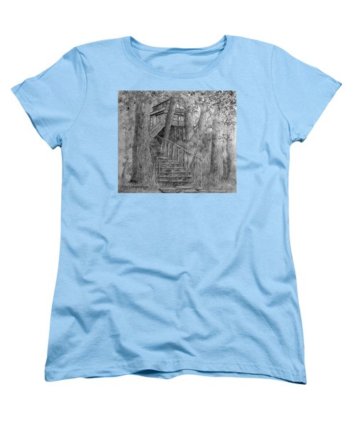 Women's T-Shirt (Standard Cut) featuring the drawing Tree House #1 by Jim Hubbard