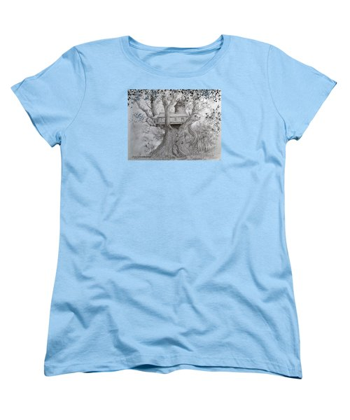 Women's T-Shirt (Standard Cut) featuring the drawing Tree House #2 by Jim Hubbard