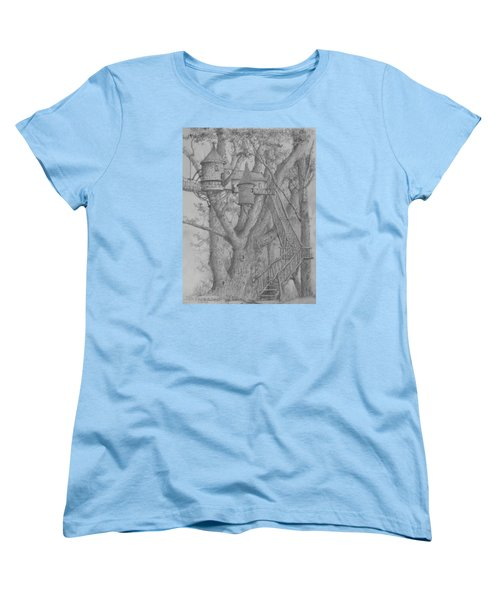 Women's T-Shirt (Standard Cut) featuring the drawing Tree House #3 by Jim Hubbard