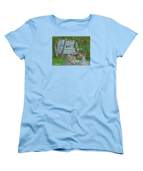 Women's T-Shirt (Standard Cut) featuring the drawing Tree House Digital Version by Jim Hubbard