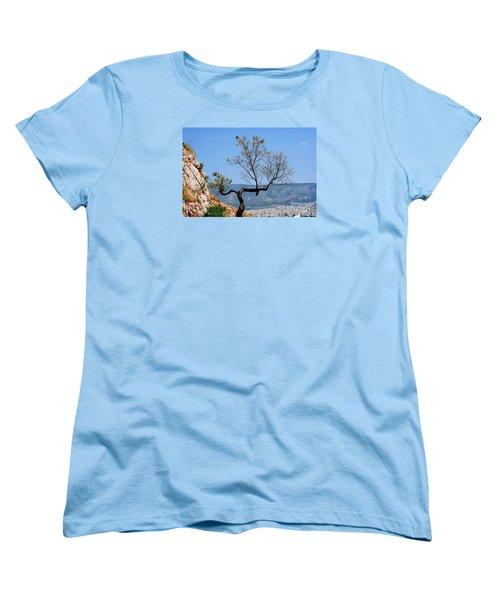 Tree On Acropolis Hill Women's T-Shirt (Standard Cut) by Robert Moss