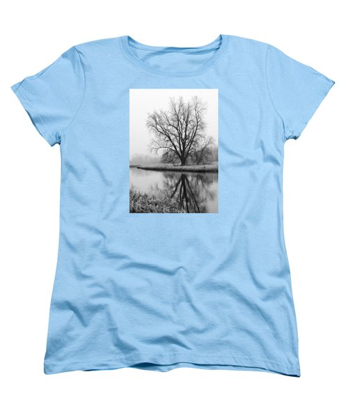 Tree Reflection In The Fox River On A Foggy Day Women's T-Shirt (Standard Cut)