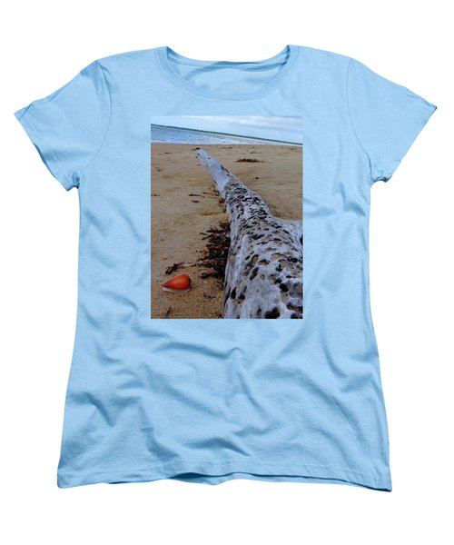 Tree Trunk And Shell On The Beach Full Size Women's T-Shirt (Standard Cut) by Exploramum Exploramum