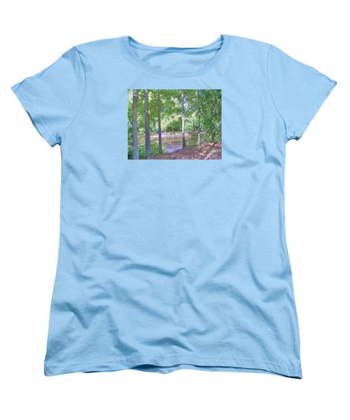 Trees At Rivers Edge Women's T-Shirt (Standard Cut) by Shirley Moravec