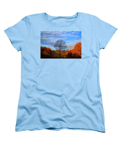 Women's T-Shirt (Standard Cut) featuring the photograph Treetops Sunrise by Kathryn Meyer