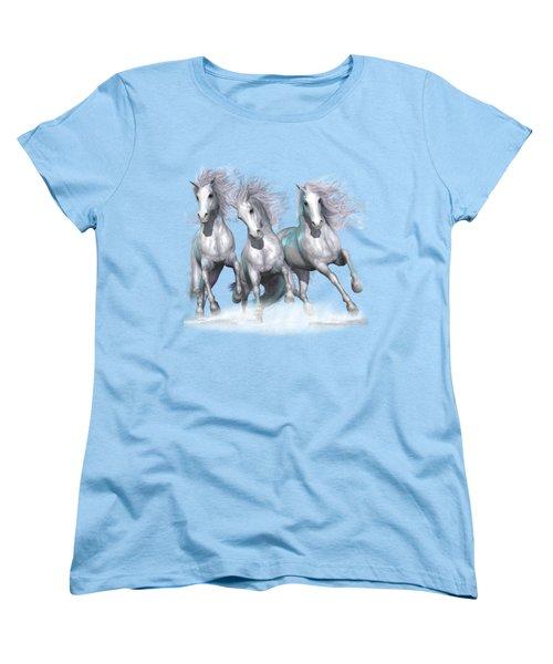 Trinity Galloping Horses Blue Women's T-Shirt (Standard Cut) by Shanina Conway