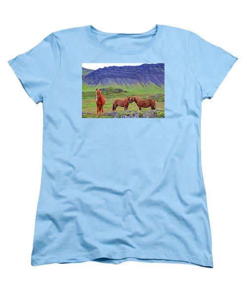 Women's T-Shirt (Standard Cut) featuring the photograph Triple Horses by Scott Mahon