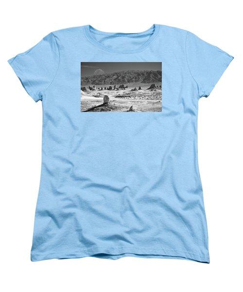 Trona Pinnacles With The Moon Women's T-Shirt (Standard Cut) by Marius Sipa