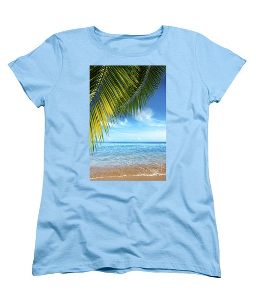 Tropical Beach Women's T-Shirt (Standard Cut) by Carlos Caetano