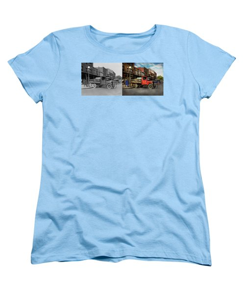 Women's T-Shirt (Standard Cut) featuring the photograph Truck - Home Dressed Poultry 1926 - Side By Side by Mike Savad