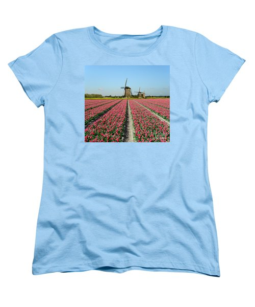 Tulips And Windmills In Holland Women's T-Shirt (Standard Cut) by IPics Photography