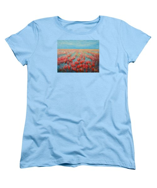 Tulips Dance Abstract 4 Women's T-Shirt (Standard Cut) by Jane See