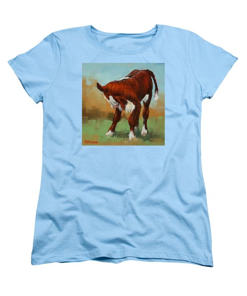 Women's T-Shirt (Standard Cut) featuring the painting Turning Calf by Margaret Stockdale