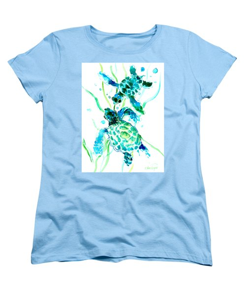 Turquoise Indigo Sea Turtles Women's T-Shirt (Standard Cut) by Suren Nersisyan