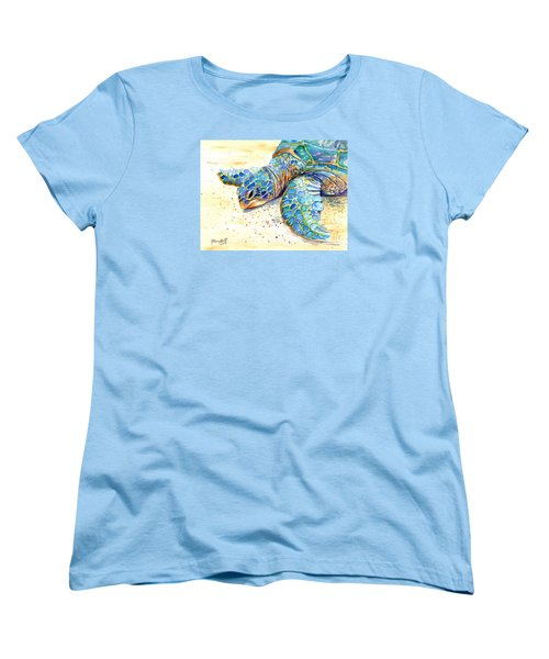 Women's T-Shirt (Standard Cut) featuring the painting Turtle At Poipu Beach 4 by Marionette Taboniar