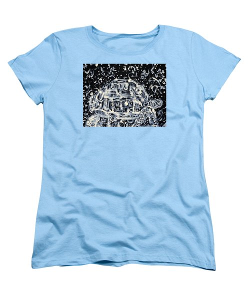 Women's T-Shirt (Standard Cut) featuring the painting Turtle Walking Under A Starry Sky by Fabrizio Cassetta