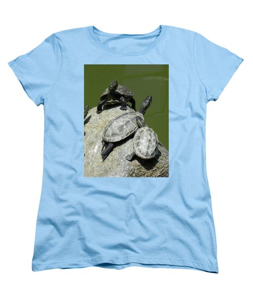 Women's T-Shirt (Standard Cut) featuring the photograph Turtles At A Temple In Narita, Japan by Breck Bartholomew