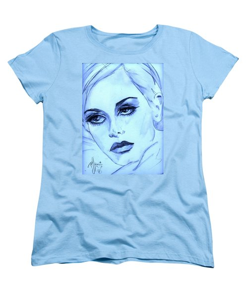 Women's T-Shirt (Standard Cut) featuring the painting Twiggy In Blue by P J Lewis