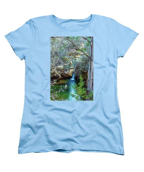 Twin Falls At Peddernales Falls State Park Women's T-Shirt (Standard Cut) by Micah Goff