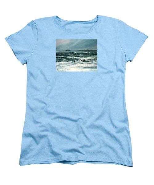 Twin Lights Rockport Ma Women's T-Shirt (Standard Cut) by Eileen Patten Oliver