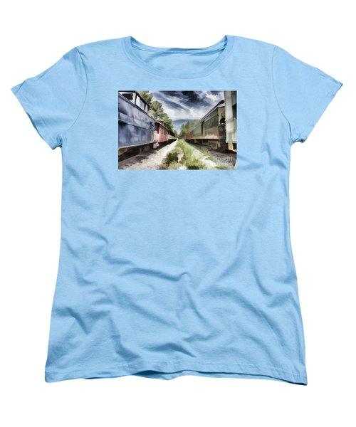 Twixt The Trains Women's T-Shirt (Standard Cut) by Roberta Byram