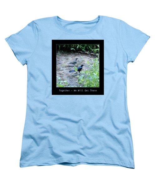 Two Birds Blue Women's T-Shirt (Standard Cut) by Felipe Adan Lerma