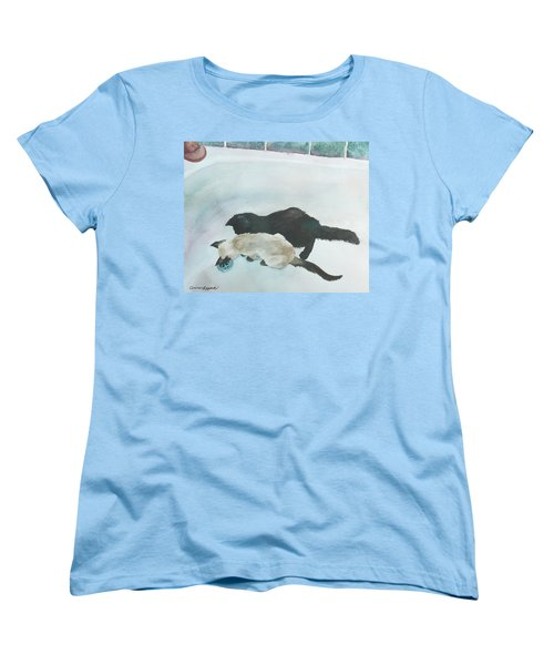 Women's T-Shirt (Standard Cut) featuring the painting Two Cats In A Tub by Anne Gifford