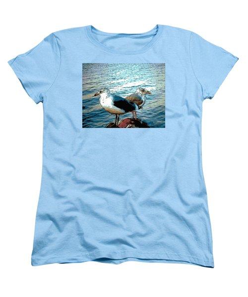 Two Gulls Women's T-Shirt (Standard Cut) by Ann Tracy