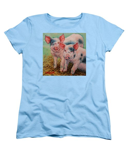 Women's T-Shirt (Standard Cut) featuring the painting Two Little Pigs  by Margaret Stockdale