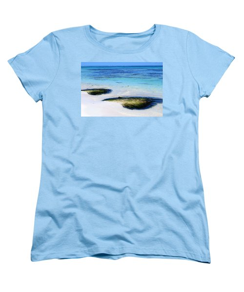 Two Seaweed Mounds On Punta Cana Resort Beach Women's T-Shirt (Standard Cut) by Heather Kirk