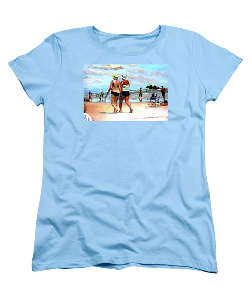 Women's T-Shirt (Standard Cut) featuring the painting Two Women Walking On The Beach by Stan Esson