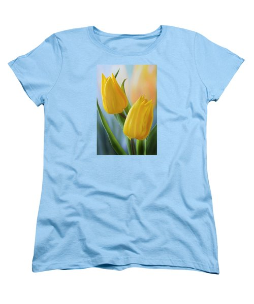 Two Yellow Spring Tulips Women's T-Shirt (Standard Cut) by Terence Davis