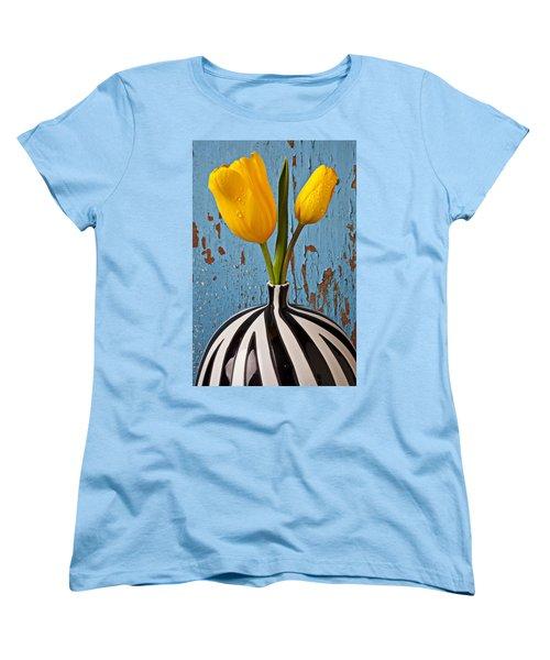 Two Yellow Tulips Women's T-Shirt (Standard Cut) by Garry Gay