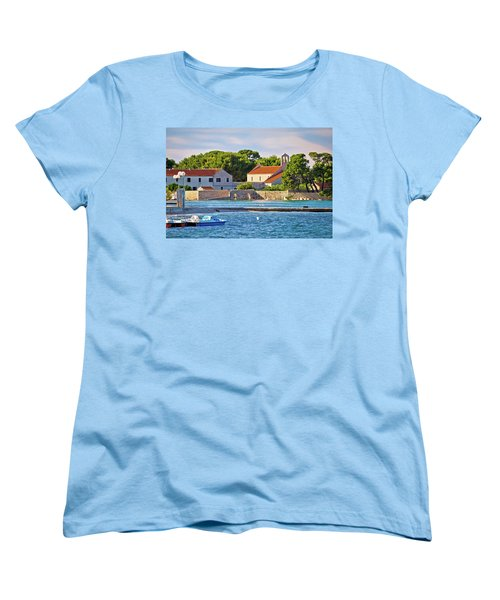 Ugljan Island Village Old Church And Beach View Women's T-Shirt (Standard Cut) by Brch Photography
