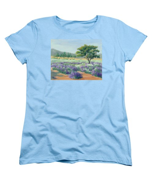 Women's T-Shirt (Standard Cut) featuring the painting Under Blue Skies In Lavender Fields by Sandy Fisher
