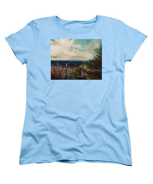 Women's T-Shirt (Standard Cut) featuring the painting Under Full Sail by John Williams