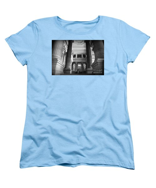 Women's T-Shirt (Standard Cut) featuring the photograph Under The Scaffolding Of The Palace Of Justice - Brussels by RicardMN Photography