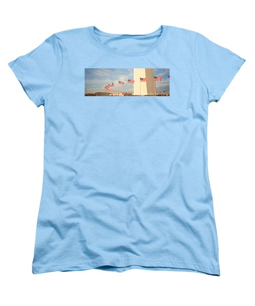 United States Flags At The Base Women's T-Shirt (Standard Cut) by Panoramic Images