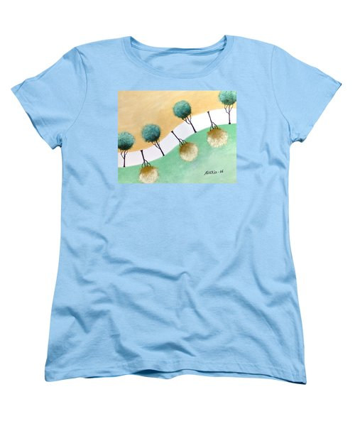 Women's T-Shirt (Standard Cut) featuring the painting Upside Down by Edwin Alverio