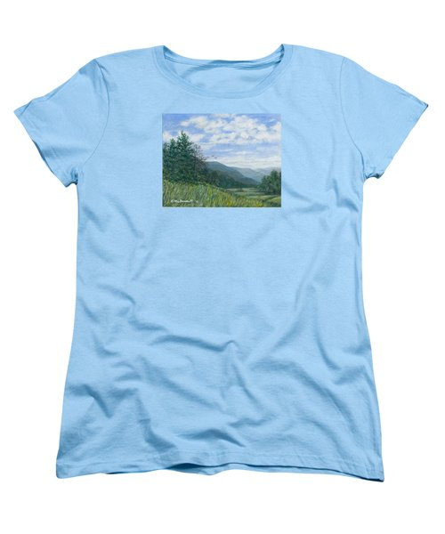 Women's T-Shirt (Standard Cut) featuring the painting Valley View by Kathleen McDermott