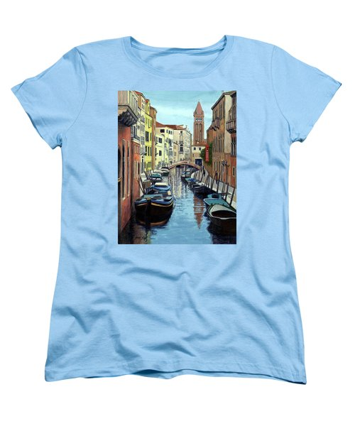 Women's T-Shirt (Standard Cut) featuring the painting Venice Canal Reflections by Janet King