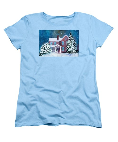 Women's T-Shirt (Standard Cut) featuring the painting Vermont Studio Center In Winter by Donna Walsh