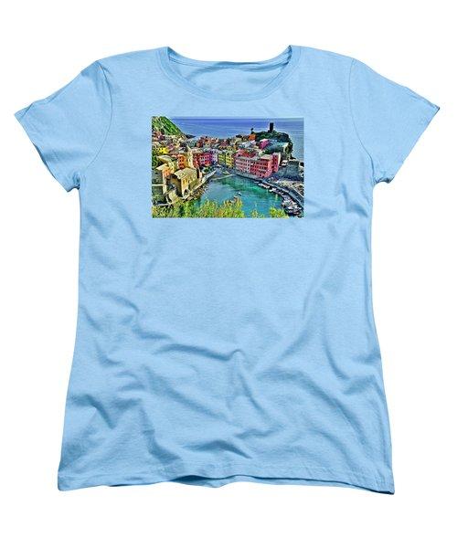 Vernazza Alight Women's T-Shirt (Standard Cut) by Frozen in Time Fine Art Photography
