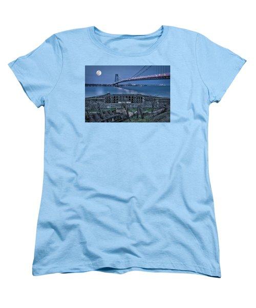 Women's T-Shirt (Standard Cut) featuring the photograph Verrazano Narrows Bridge Full Moon by Susan Candelario